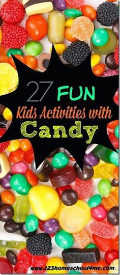 27 FUN Kids Activities with CANDY! So many fun, clever ideas for preschool, kindergarten, 1st & 2nd grade, after school, and homeschool kids to use Halloween candy!