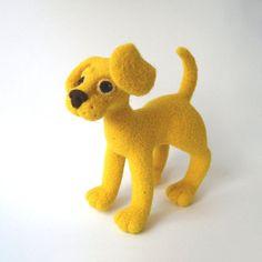 Puppy Dog Yellow Needle Felted Soft Sculpture by rokdarbi4u, $70.00