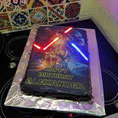 A Star Wars cake with actual glowing lightsabers, crates that inspire kids to create, and the first ever public all this week in making. Bolo Star Wars, Star Wars Cake, Star Wars Party, Star Wars Birthday Cake, Birthday Cakes, Birthday Bash, Birthday Parties, Light Up Lightsaber, Starwars