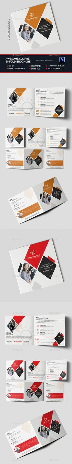 Awesome Square Bifold Brochure — Photoshop PSD #corporate brochure #corporate square brochure • Available here → https://graphicriver.net/item/awesome-square-bifold-brochure-/14615484?ref=pxcr