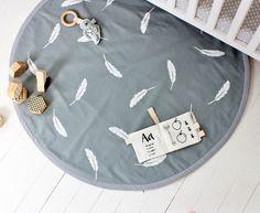 White Feathers on Grey Hand Printed Padded Play Mat / Nursery Floor Rug / Organic