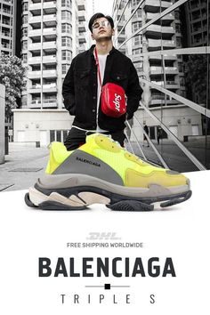 pretty nice 244f6 7516a Buy Balenciaga Triple S Trainers Jaune Fluo at online shop  sneakers   fashion  shoes