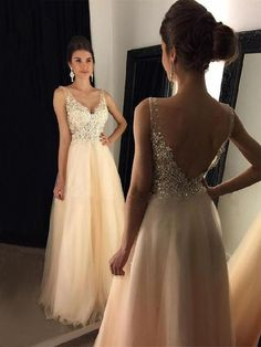 Champagne V Neck Prom Dresses Appliques Tulle Sleeveless Floor Length graduation A-line Backless Formal Party Long Evening Gowns Cheap Gowns, Cheap Prom Dresses, Wedding Party Dresses, Sexy Dresses, Formal Dresses, Elegant Dresses, Summer Dresses, Modest Wedding, Tight Dresses