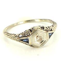 Antique Art Deco 14 Karat White Gold Diamond Sapphire Filigree Ring Fine Jewelry $489