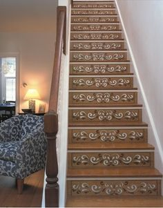Stair Riser Stencil Ideas3 | Wood Stair Risers Design Ideas, Pictures, Remodel, and Decor