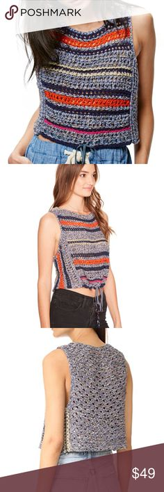FREE PEOPLE STEP OUTSIDE CROCHET TANK TOP BOHO Very good condition Channel your inner folk-princess in this swingy crochet tank that looks great on its own or layered. Jewel neck Cutaway shoulders 67% cotton, 29% nylon, 4% acrylic Hand wash cold, dry flat gh21 Free People Tops