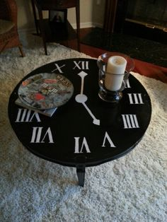Purchased A Coffee Table At An Antique Store For 60 And Painted A Clock It S