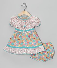 This Turquoise Polka Dot Floral Peasant Dress & Bloomers - Infant by Lele Vintage is perfect! #zulilyfinds