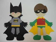 "Batman decor Paper dolls are 4"" inches tall"