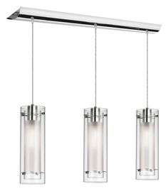 "3 LT CYLINDER LINEAR PENDANT  OUTER CLEAR WITH INNER FROST GLASS  POLISHED CHROME FINISH LAMP TYPE: 3 X 60T10/IF (3 X 60 WATTS) FINISH OPTION 1: OLD BRUSHED BRONZE MOUNTING OPTION: 48"" ADJ CABLE - 15"" GLASS HT SIZE: 63"" OAL HT WEB ID: WN0985610929 $479.99"