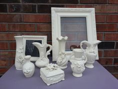 Set Of 9 Annie Sloan Old White Painted Vases by ToadHouseCreations, $119.00