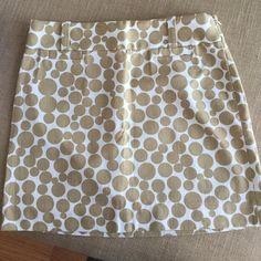 JCrew gold polka dot miniskirt Never worn. Size 0. Gold and white polka dot miniskirt J. Crew Skirts Mini