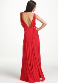 Red Spaghetti Strap Backless Maxi Dress
