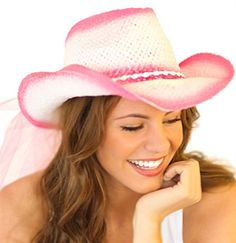 Pink & White Vintage Straw Country Western Hat with Veil for the Bride