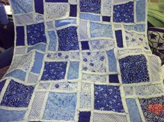 Blue and White Rag Quilt