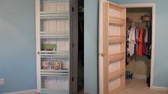 Attach Shelves to Your Closet Door to Save Space. Hang shoes, games, food, and more!