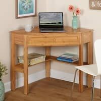 Set up a workstation at home with this Bamboo Corner Writing Desk. It fits neatly into compact areas to save space. A drawer holds documents and other items. This bamboo corner desk also has a lower shelf for holding books and more. Small Corner Desk, Corner Writing Desk, Corner Office, Writing Table, Corner Workstation, Space Saving Desk, Pc Table, Small Workspace, Wood Desk