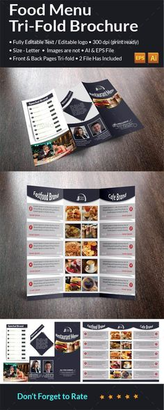 Food Menu Tri-Fold Brochure by * Tri-fold Brochuer * Double Sided * 2 Ai & EPS files * Front and Back * Letter siges each side * Bleeds: inch * Print Ready Brochure Food, Business Brochure, Brochure Design, Brochure Template, Flyer Template, Brochure Trifold, Flyer Design, Weekly Menu Template, How To Make Brochure
