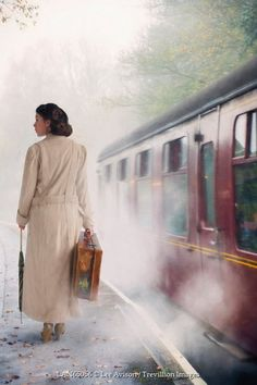 Woman On A Railway Platform With Steam Train by Lee Avison Trains, 1940s Woman, Old Train Station, Train Journey, Vintage Umbrella, Photography Projects, The Villain, Vintage Travel Posters, Vintage
