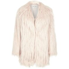 River Island Light pink faux fur shaggy coat ($190) ❤ liked on Polyvore featuring outerwear, coats, river island, coats / jackets, faux fur coats, pink, women, pink faux fur coat, fake fur coats and pink coat