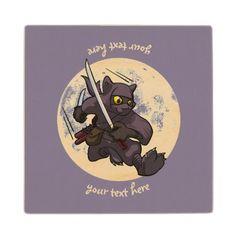 #customize - #Black Cat Ninja Katana Sword Flying Kick Cartoon Wooden Coaster