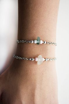 Excited to share the latest addition to my #etsy shop: Sterling Silver Stack Bracelet, Dainty Sea Glass Bracelet, Thin Chain Bracelet Set for Her, Gift for Her, Delicate Layering Bracelets Set http://etsy.me/2yDOnck