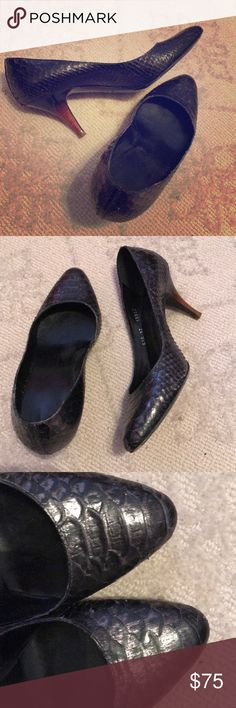 Giuseppe Zanotti Leather Snake Skin Textured Heels Size 37- fits like a 7. They do show wear but still look great! Color is close to a metallic gray in my opinion. Giuseppe Zanotti Shoes Heels