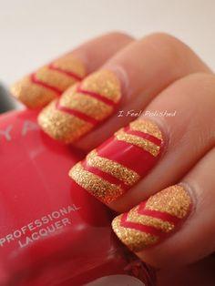 More Wonder Woman love!! Chevron Nails