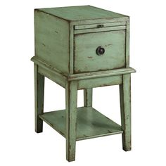 Somette Sea Green Weathered 1-Drawer Chair Side Cabinet