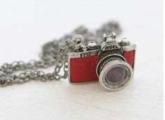 Lovely cute red camera dangling long chain necklace modern jewelry art deco