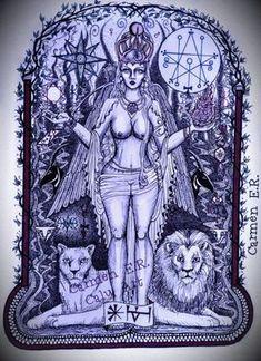 Goddess Tattoo, Goddess Art, Ishtar Goddess, Lilith Sigil, Tarot, Beautiful Fantasy Art, Beautiful Witch, Ancient Mesopotamia, Art Vintage