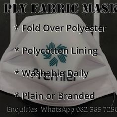 3 Ply Washable Fabric Masks Available  These proudly South African manufactured masks are available immediately ex Cape Town. We have transport options available for delivery to parts of South Africa, Africa and the World.  Made from Polyester with a Polycotton lining these masks can be washed every day. The polycotton lining prevents breathing condensation which normally accumulates in the polyester outer layer.  Branding options are available for companies wishing to use these masks as a… For Delivery, Cape Town, South Africa, Masks, African, Branding, Personalized Items, Fabric, Instagram
