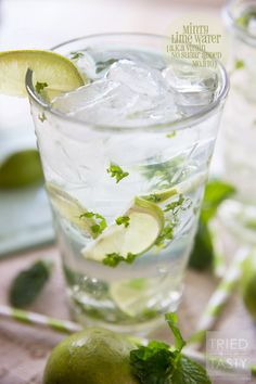 Minty Lime Water // For a cool, crisp and refreshing beverage, try this simple three-ingredient water! If you've ever needed help getting your daily water intake, this Minty Lime Water will help you reach your goals! | Tried and Tasty Non Alcoholic Drinks, Cold Drinks, Refreshing Drinks, Yummy Drinks, Beverages, Mojito, Daily Water, Cocktail Recipes, Cocktails