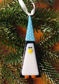 Personalized Fused Glass Penguin Ornament: Inscribe with name, date, and/or personal message