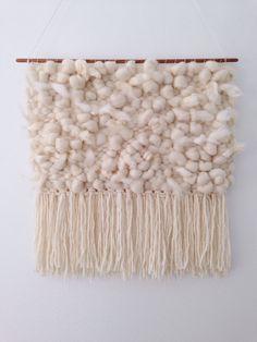 Hand Woven Wall Hanging / Tapestry / Weaving // Cream & White Wool, Mohair, Angora, Raw Cotton