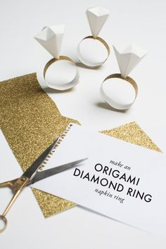 Origami diamond ring. Cute idea for wedding favors or bridesmaids proposal boxes.