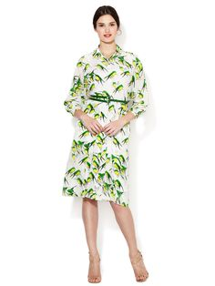 Silk Sparrow Print Dolman Shirtdress by Carolina Herrera at Gilt