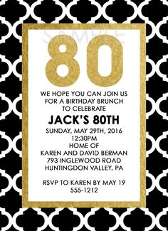 Black and Gold 80th Birthday Party Invitation - ANY AGE AVAILABLE