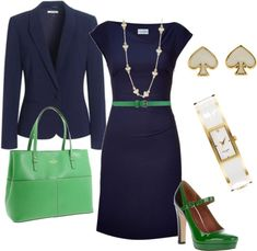 "Switch out the belt for a lime green one and #GoHawks!! ""Navy and Green Combo"" by tajarl ❤ liked on Polyvore"