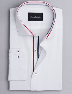 Ismail Farid - CLASSIC WHITE SHIRT WITH PIPING DETAILS Blue And White Shirt, White Shirt Men, Classic White Shirt, Formal Dresses For Men, Formal Shirts For Men, Stylish Shirts, Casual Shirts, Shirt Collar Styles, White Shirt Outfits
