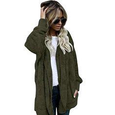 7b106eb407df Forthery Women s Warm Fleece Sherpa Jacket Hooded Coat with Pocket Winter  Outwear