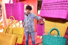 Colourful baskets from Manipur in different shapes and style are on display at Surajkund International Crafts Mela! International Craft, Stalls, Different Shapes, Baskets, Display, Tote Bag, Crafts, Bags, Color
