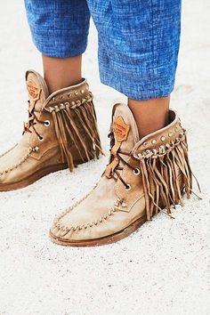 394225daa945  ad El Vaquero Roseland Moccasin Boot  boots  fringe  ankle Boho Shoes
