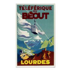 Poster de viagens do vintage, Lourdes por yesterdaysgirl