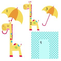 Rainy Day Giraffe and his Umbrella Digital by CollectiveCreation
