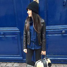 Denim  cuir =  #lookdujour #ldj #denim #jean #leather #streetstyle #blue #spring #fashion #ootd #outfitinspo #inspiration #pretty #onaime #mixnmatch #regram  @sonia_lmch