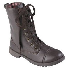 Girl's Hailey Jeans Co. Lace-Up Boots - Brown 12