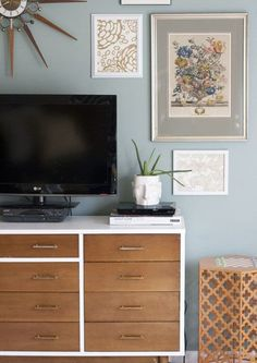 midcentury modern dresser as tv stand