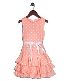 Love this Joe-Ella Coral Polka Dot Chiffon Sash Dress - Girls by Joe-Ella on #zulily! #zulilyfinds