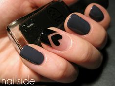 Nailside: Nude with hearts #heart #grey #nude #black #triangle #tips